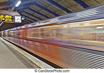 train leaves station Roedingsmarkt in direction Barmbek -...