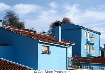 Juzcar, blue Andalusian village in Malaga, south of Spain