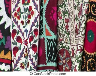 Colorful fabrics in Samarkand - Colorful fabrics for sale in...