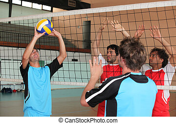 Players on a volleyball court