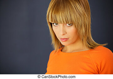 Gorgeous woman with a blunt fringe