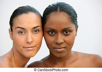 Head and shoulders of two beautiful women