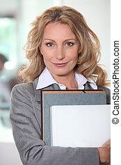 mujer de negocios, computador portatil, Carpeta, archivo,...