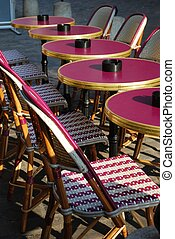 Outdoor cafe, Paris - Typical outdoor cafe with tables and...