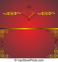 red frame with golden arabesque