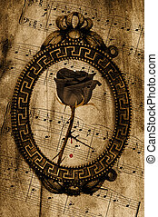 vintage-style background with rose in a frame and musical...