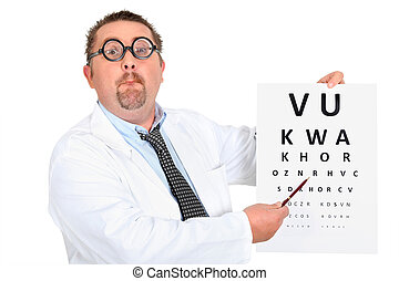 Eye doctor with an eye chart