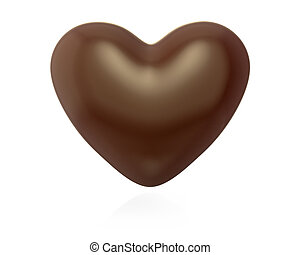 Heart shaped chocolate candy, isolated on white