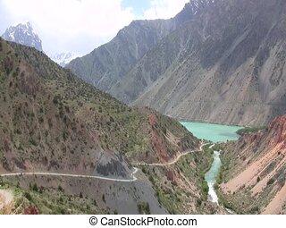 Lake between hills in Tajikistan
