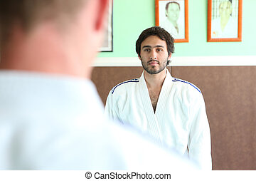 hombres, preparando, B, afuera, Judo