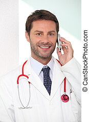 portrait of a doctor on the phone