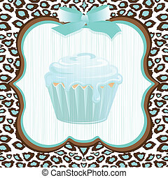 Aqua leopard print cupcake birthday - Aqua and brown leopard...