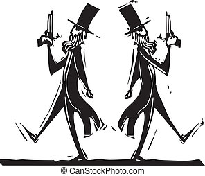 Dueling - Two Victorian gentlemen with pistols in a duel.