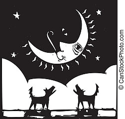 Howling - Two lonely dogs howling at a crescent moon with a...