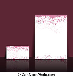 Floral letterhead and business card design - Illustration of...
