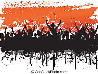 Grunge crowd scene - Grunge background with a silhouette of...