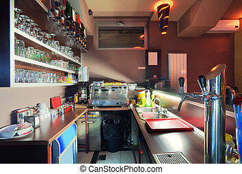 Cafe bar - Interior of a cafe, work side of bar