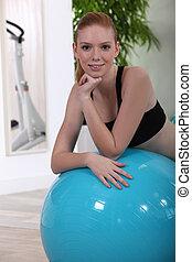 Riposare, donna, giovane, Palla, esercizio