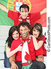 葡萄牙語, 組, 支持, 足球, 隊, 朋友