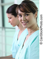 Nurses in scrubs
