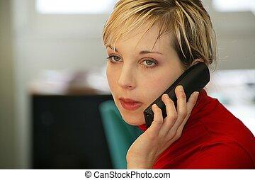 austero, mulher, falando, telefone
