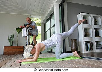 seniors having indoor exercise