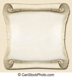Square blank sandy Ancient Scroll with curved corners