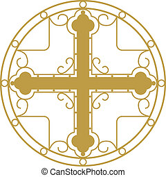 Christian Holy cross - Vector illustration ofGolden...