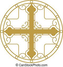 Christian Holy cross - Vector illustration ofGolden...
