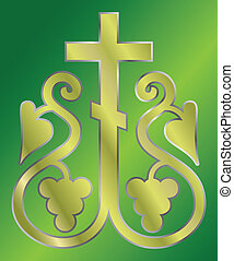 Christian Holy cross with grapes - vector illustration of...