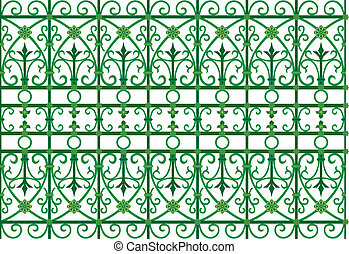 scoop grating fence - vector image of metal scoop grating...