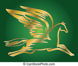 flying horse Pegasus - vector illustration of antique flying...