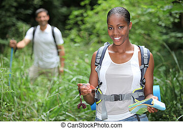 Young couple walking in countryside