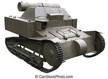 isolated oancient small self-propelled tank