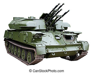 self-propelled armored antiaircraft - isolated...