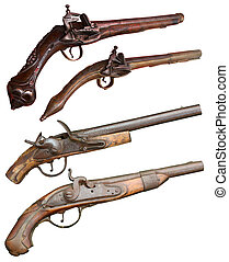 Isolated vintage firearm pistols of XIVII-XIX centuries