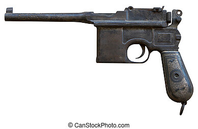 isolated rusty obsolete vintage personal pistol