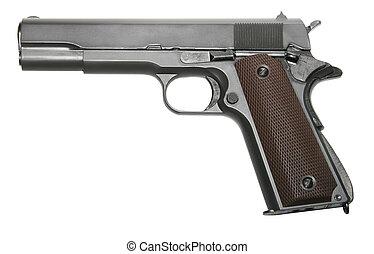 isolated modern military pistol - isolated modern military...