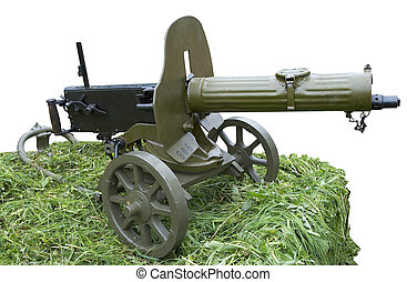 Isolated vintage self-powered Maxim machine gun