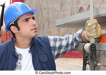 construção, trabalhador, local