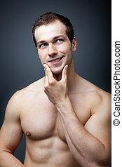 músculos, ou, brain?, Muscular, homem, pensando