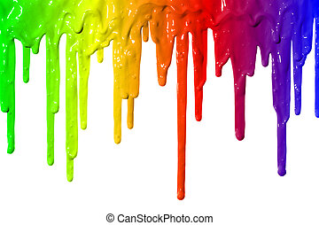 Paint dripping - Different colors of paint dripping