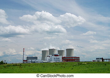 Nuclear power plant towers, a symbol of energy solution?