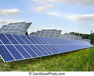 Solar collectors - Field of sollar collectors - ecology for...