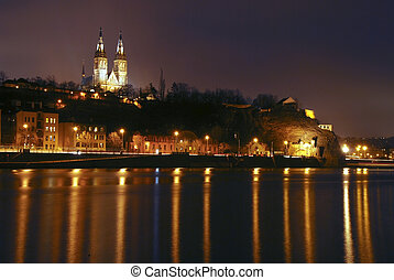 Vysehrad Church in Prague seen from the distant bank of...
