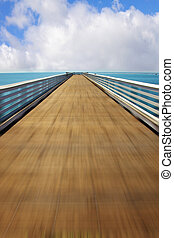 Fast trip on a wooden pier