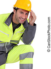 Traffic guard wearing hard hat