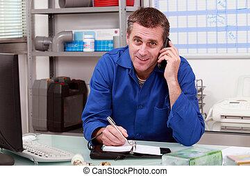 peón, teléfono, cliente
