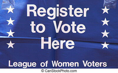 Register to vote banner. - Register to vote banner displayed...