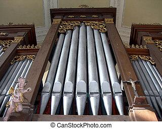 Organ pipes -           Baroque organ in the church